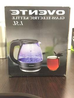 OVENTE 1.5L Glass Electric Tea Coffee Kettle Cordless Hot Wa