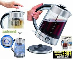 Hamilton Beach 1.7 Liter Electric Glass Kettle With Tea Stee