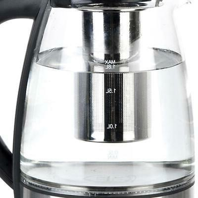 1.8L Electric Glass Kettle 1500W Boiling Steel Hot Water Heater