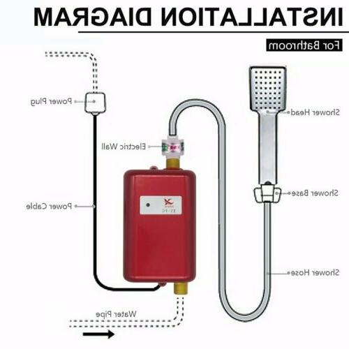 Electric Instant Hot Tankless Water Shower Kitchen Tap Faucet 3800W 110V