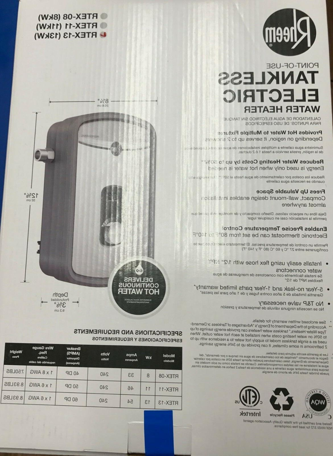 Rheem Electric Tankless Water RTEX13