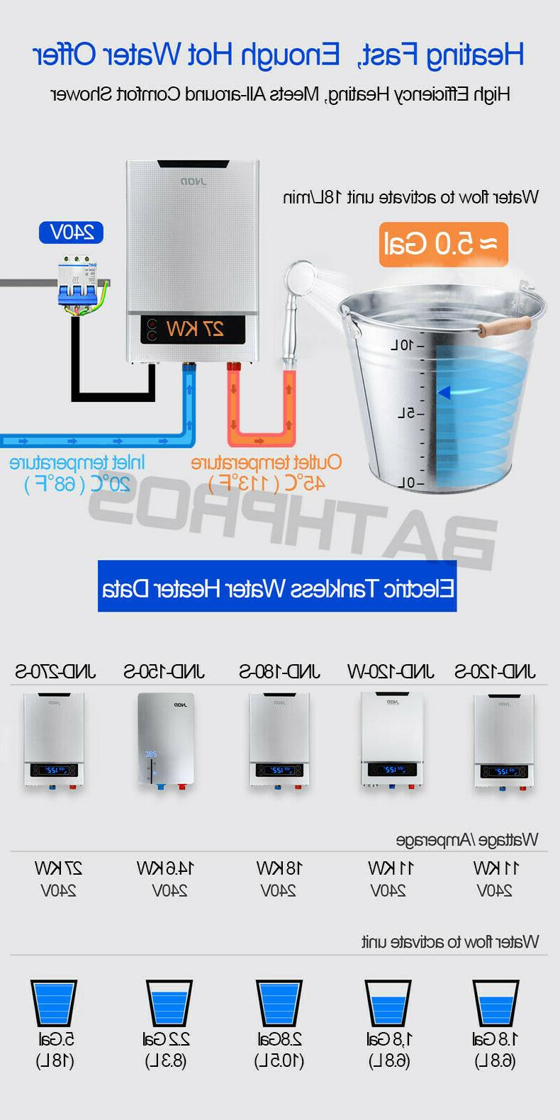 27KW Instant Hot Heater Tankless Demand House Bath 240V