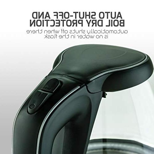 Ovente BPA-Free Electric Fast Heating with Auto Shut-Off Boil-Dry Protection, Light Black