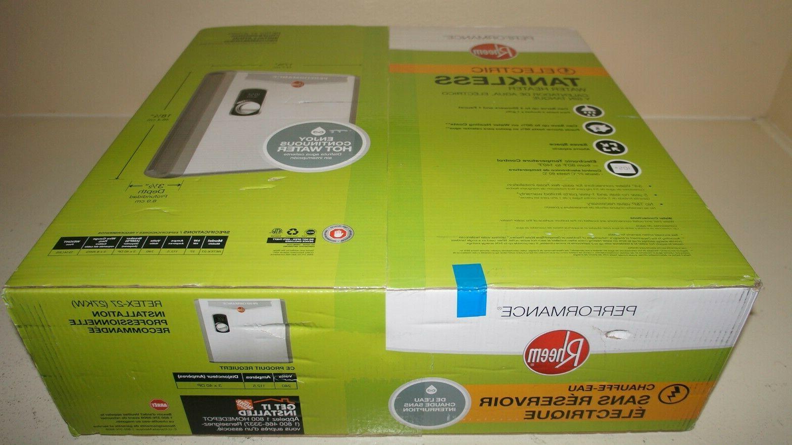 Rheem Electric Tankless Water Heater Instant Hot 27 kw Self-