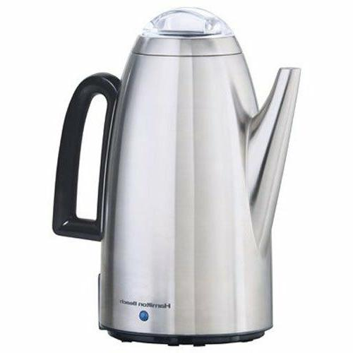 Electric Coffee Percolator Stainless Steel 12 Cup Filter Bas