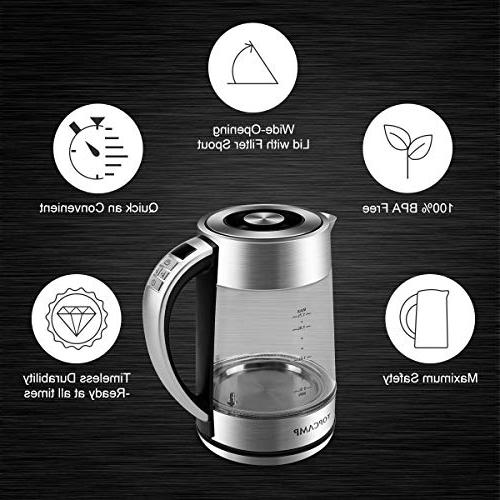 Glass Kettle Heater Control, Fast Water with LED BIOL,BPA-Free by TOPCAMP