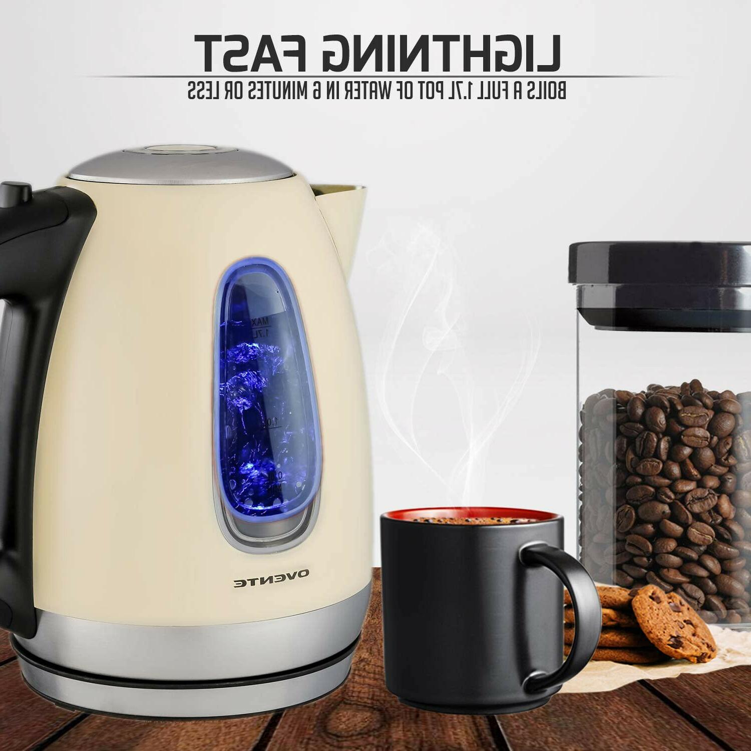 Ovente Kettle, Cordless Tea And Water Heater,