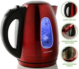 Ovente KS96R 1.7 Liter BPA Free SS Cordless Electric Kettle