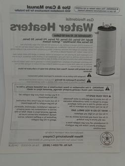 RHEEM Gas Residential Water Heaters Use & Care Manual 30, 40